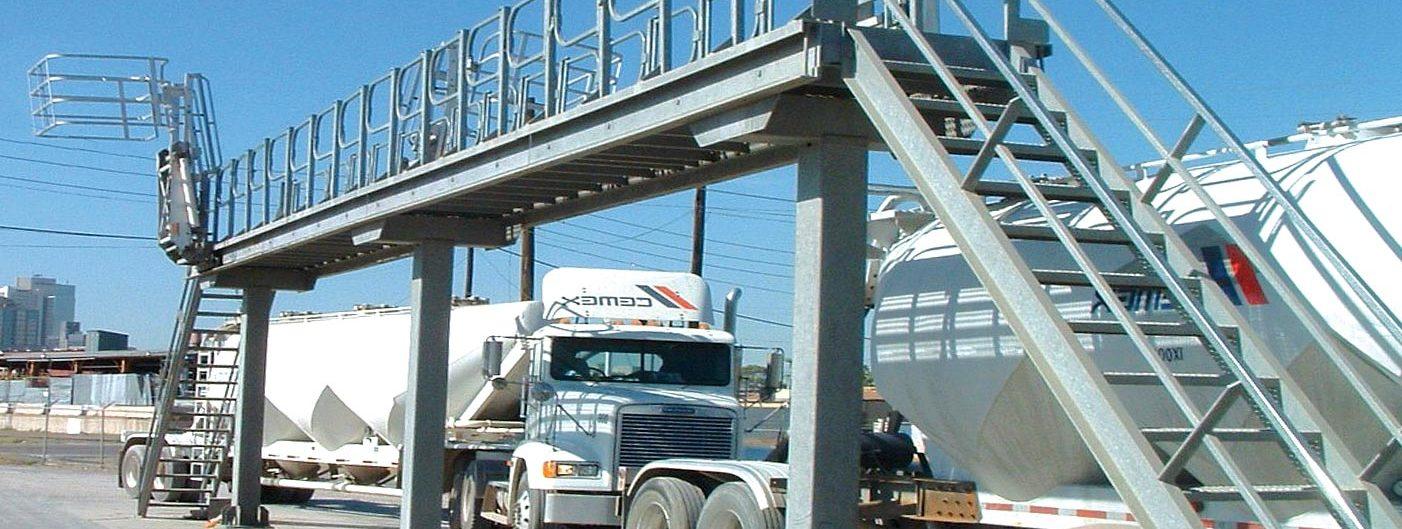 truck loading platform for access cement hopper truck hatches