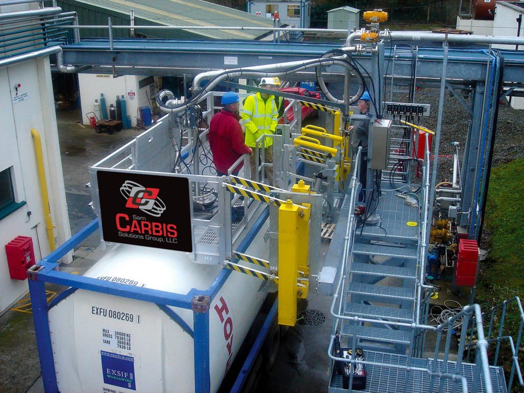 Isotainer loading with wide gangway and loading arm. Aluminum handrails