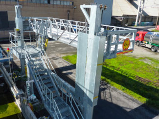 Steel Handrail on elevating platform for loading trucks and Iso containers