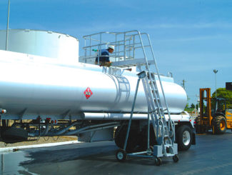 Liquid tank truck access ladder safety