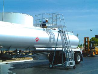 Liquid tank truck access ladder safety