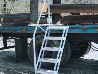 truck access ladder with handrail, flatbed truck access, aluminum construction, portable, lightweight