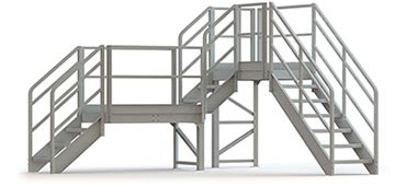 Modular safety platform with handrails and stairs
